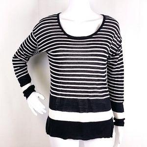 Loft Black White Striped Ramie Blend Sweater EE03P